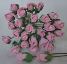 4mm LIGHT PINK ROSE BUDS Mulberry Paper Flowers